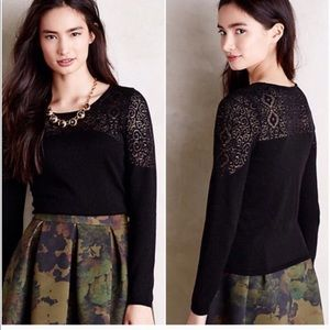Knitted & Knotted Black Silk Modal Lace Sweater S